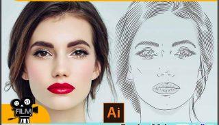 آموزش طراحی چهره خطی با ایلوستریتور